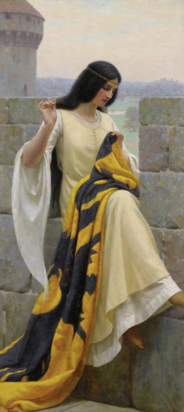 Sewer Painting - Stitching The Standard by Edmund Leighton