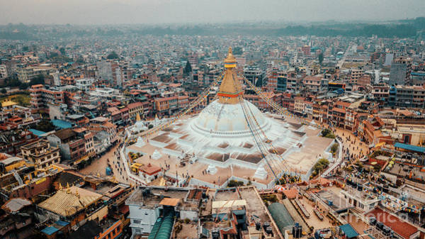 Wall Art - Photograph - Stupa Temple Bodhnath Kathmandu, Nepal From Air October 12 2018 by Raimond Klavins