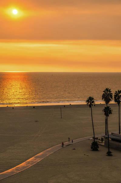 Photograph - Sunset At Santa Monica Beach And Pier by Alex Grichenko