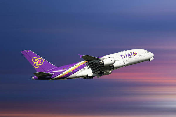 Wall Art - Mixed Media - Thai Airways Airbus A380-841 by Smart Aviation