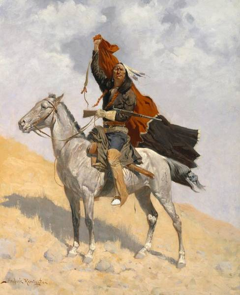 Native American Blanket Painting - The Blanket Signal by Frederic Remington