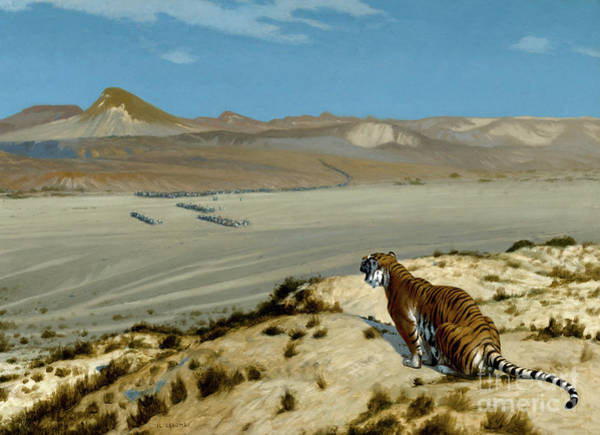 Wall Art - Painting - Tiger On The Watch by Jean Leon Gerome