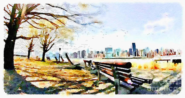 Wall Art - Digital Art - Water Color New York City Scene by Trentemoller