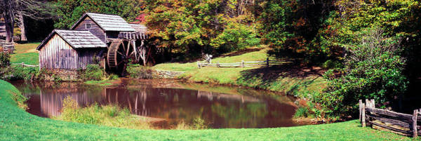 Wall Art - Photograph - Watermill Near A Pond, Mabry Mill, Blue by Panoramic Images
