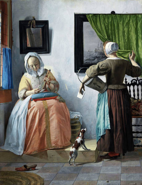 Wall Art - Painting - Woman Reading A Letter by Gabriel Metsu