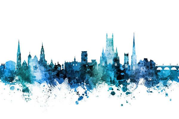 Wall Art - Digital Art - Worcester England Skyline by Michael Tompsett