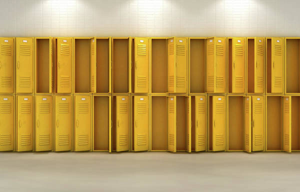 Wall Art - Digital Art - Yellow School Lockers by Allan Swart