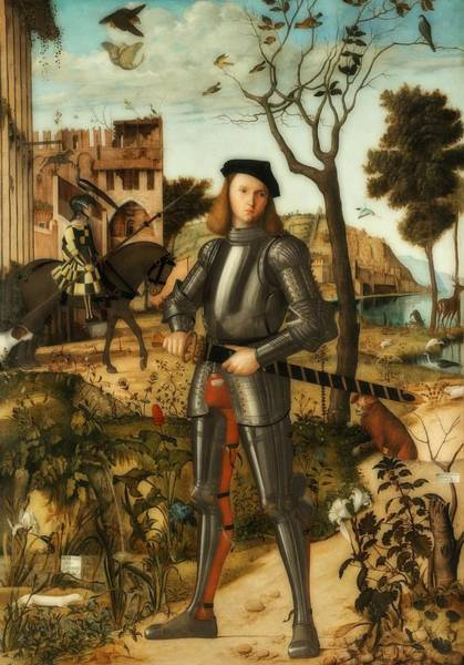 Wall Art - Painting - Young Knight In A Landscape by Vittore Carpaccio