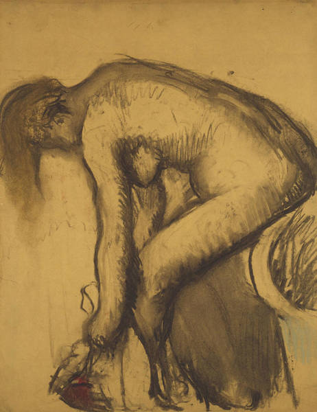Wall Art - Drawing - After The Bath by Edgar Degas
