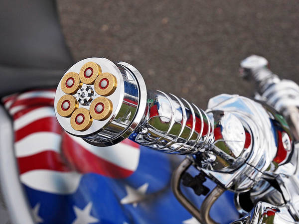 Wall Art - Photograph - 44 Magnum Bullets Handlebar Grips On A Harley Davidson by Gill Billington
