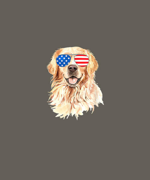 Golden Retriever Digital Art - 4th Of July Shirt For Men Merica Golden Retriever Women Gift T-shirt by Unique Tees