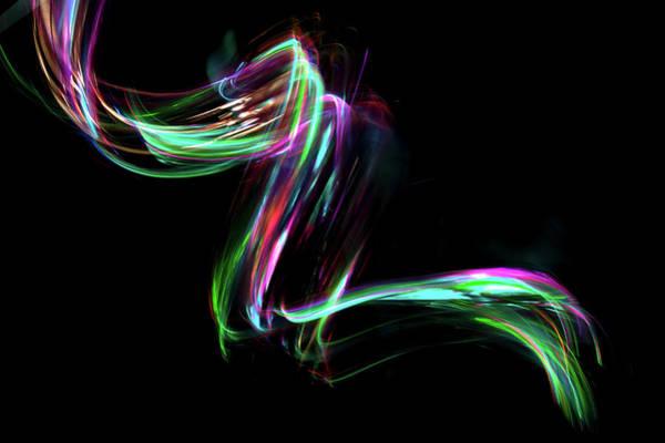 Light Photograph - Abstract Coloured Light Energy Motion by John Rensten