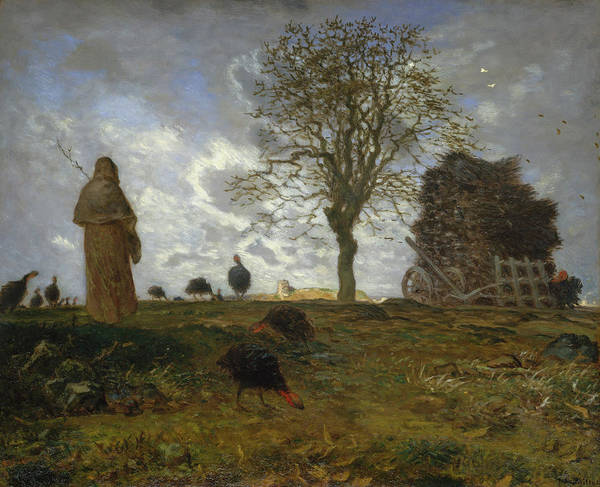 Wall Art - Painting - Autumn Landscape With A Flock Of Turkeys by Jean-Francois Millet