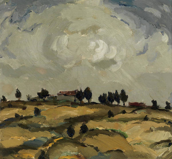 Wall Art - Painting - Autumn Landscape With Clouds by Ilmari Aalto