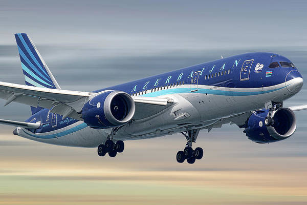 Wall Art - Mixed Media - Azerbaijan Airlines Boeing 787 Dreamliner by Smart Aviation