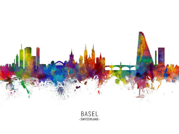 Wall Art - Digital Art - Basel Switzerland Skyline by Michael Tompsett