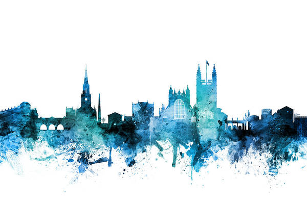 Wall Art - Digital Art - Bath England Skyline Cityscape by Michael Tompsett