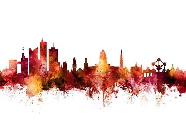 Digital Art - Brussels Belgium Skyline by Michael Tompsett
