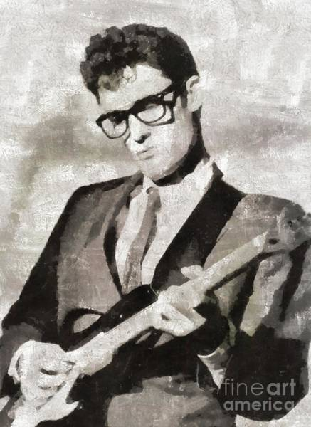 Wall Art - Painting - Buddy Holly, Music Legend by Mary Bassett