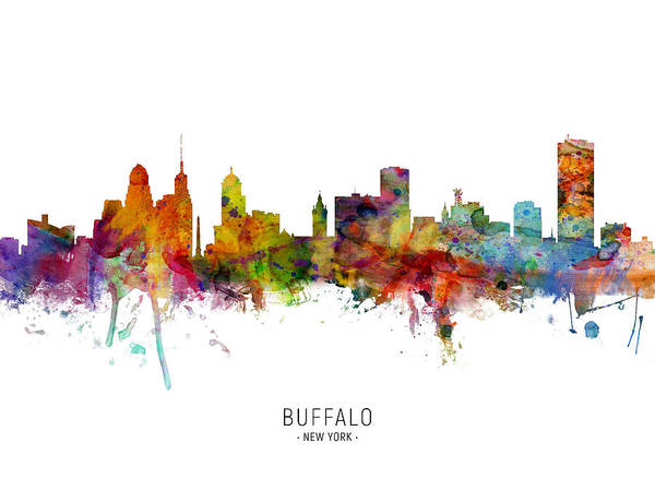 Wall Art - Digital Art - Buffalo New York Skyline by Michael Tompsett