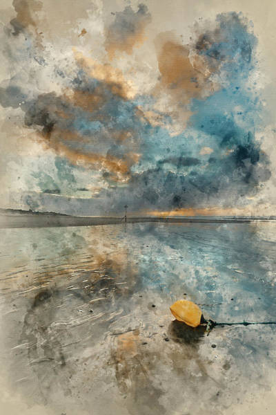 Wall Art - Photograph - Digital Watercolor Painting Of Stunning Winter Sunrise Over West by Matthew Gibson