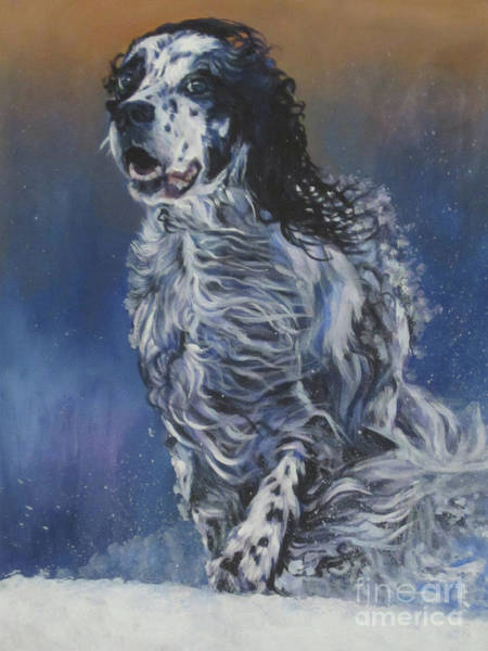 Wall Art - Painting - English Setter Winter Snow by Lee Ann Shepard