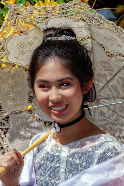 Wall Art - Photograph - Filipino Day Parade Nyc 2019 Woman With Parasol by Robert Ullmann