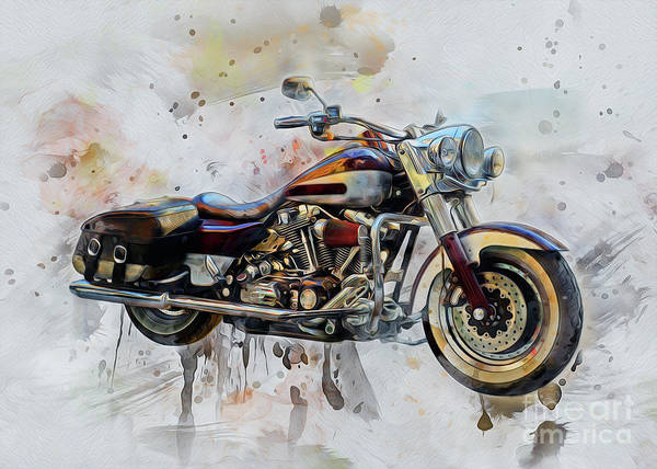 Drawing - Harley Davidson by Ian Mitchell