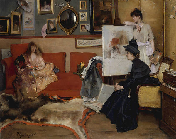 Wall Art - Painting - In The Studio by Alfred Stevens