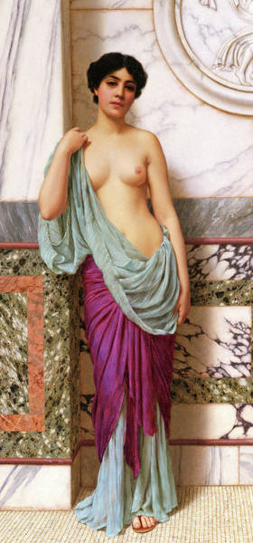 Tits Painting - In The Tepidarium by John William Godward