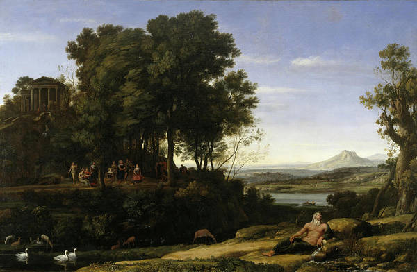 Wall Art - Painting - Landscape With Apollo And The Muses by Claude Lorrain