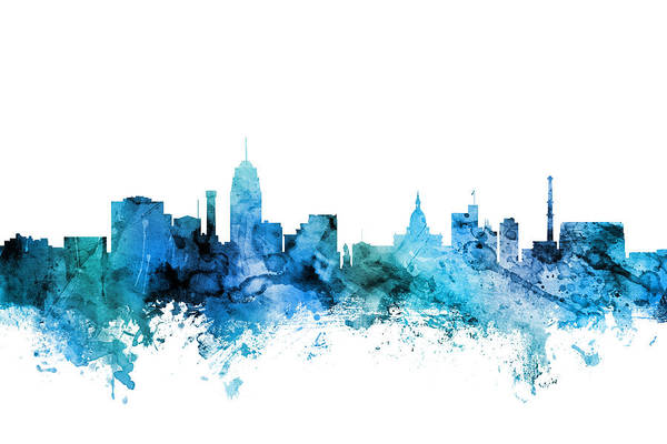 Wall Art - Digital Art - Lansing Michigan Skyline by Michael Tompsett