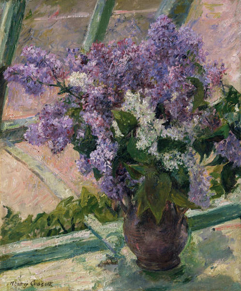 Wall Art - Painting - Lilacs In A Window by Mary Cassatt