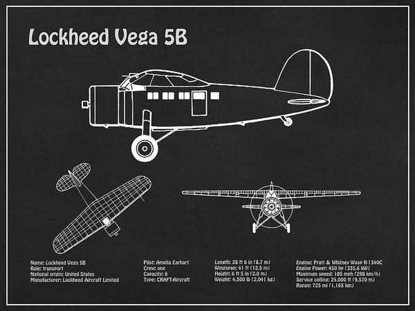 Vintage Airplane Drawing - Lockheed Vega 5b - Airplane Blueprint. Drawing Plans For The Lockheed Vega 5b Of Amelia Earhart by JESP Art and Decor