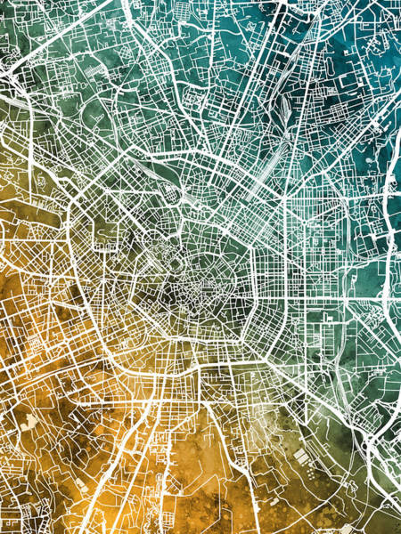 Wall Art - Digital Art - Milan Italy City Map by Michael Tompsett