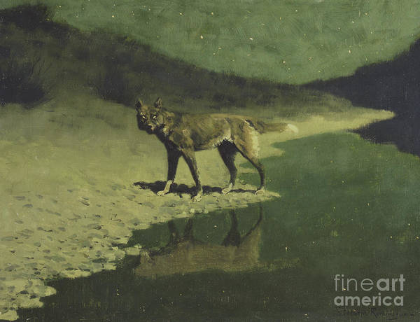Lone Star Painting - Moonlight, Wolf by Frederic Remington