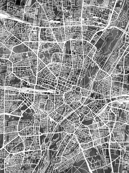 Digital Art - Munich Germany City Map by Michael Tompsett