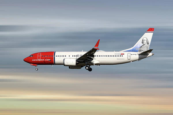 Wall Art - Mixed Media - Norwegian Boeing 737 Max 8 by Smart Aviation