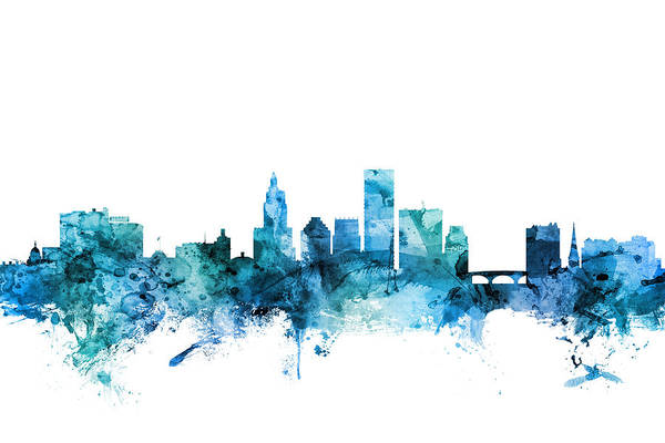 Wall Art - Digital Art - Providence Rhode Island Skyline by Michael Tompsett