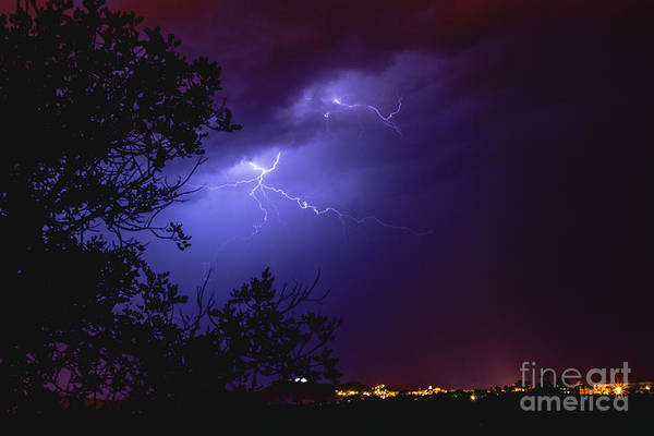 Rays In A Night Storm With Light And Clouds. Art Print