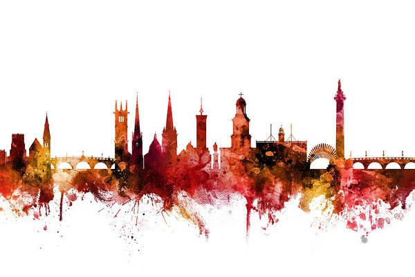 Digital Art - Shrewsbury England Skyline by Michael Tompsett