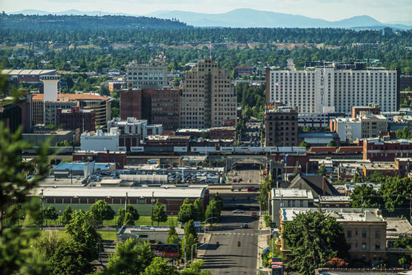 Photograph - Spokane Washington City Skyline And Spokane Valley Views by Alex Grichenko