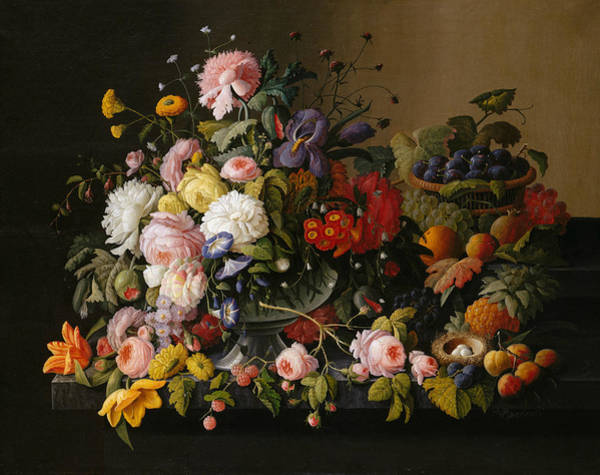Painting - Still Life - Flowers And Fruit by Severin Roesen