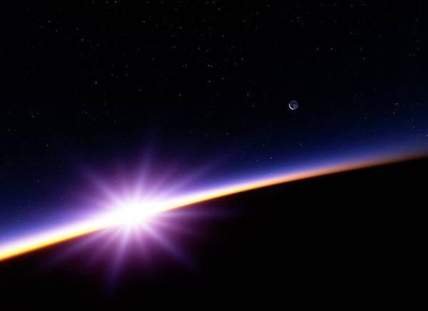 Lens Digital Art - Sunset In Earth Orbit, Artwork by Detlev Van Ravenswaay