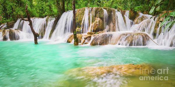 Wall Art - Photograph - Tat Sae Waterfalls. Beautiful Landscape, Laos. Panorama by MotHaiBaPhoto Prints