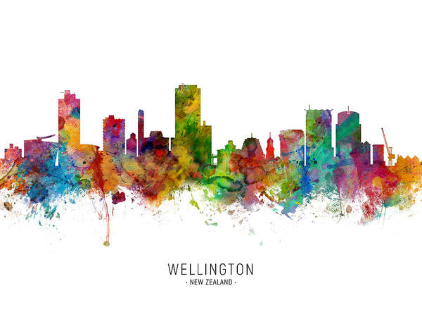 Wall Art - Digital Art - Wellington New Zealand Skyline by Michael Tompsett