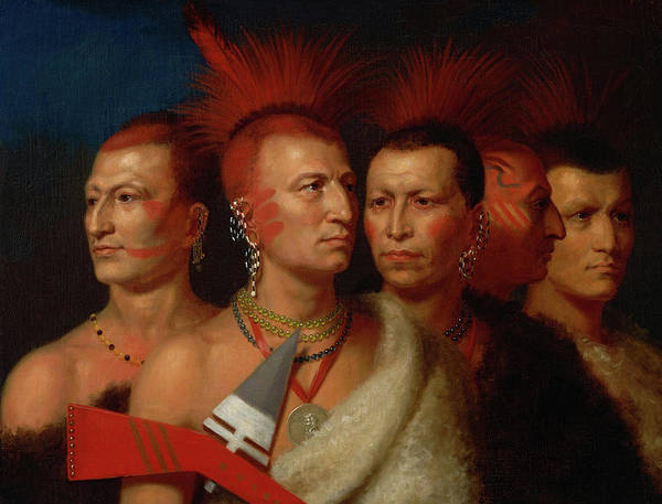 Wall Art - Painting - Young Omahaw, War Eagle, Little Missouri, And Pawnees by Charles Bird King