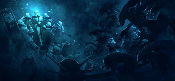 Wall Art - Digital Art - 501 Vs Aliens 1 by Guillem H Pongiluppi