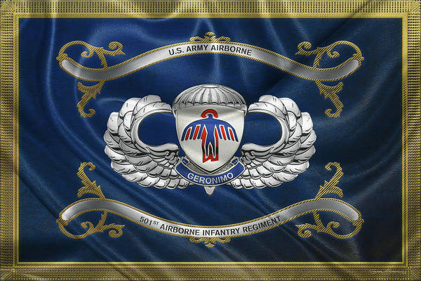 Digital Art - 501st Airborne Infantry Regiment - 501st  A I R  Insignia With Parachutist Badge Over Flag by Serge Averbukh