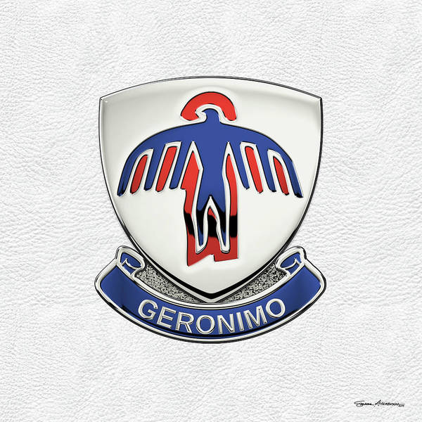 Digital Art - 501st Airborne Infantry Regiment - 501st   A I R  Unit Insignia Over White Leather by Serge Averbukh